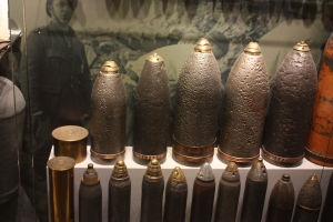 Unexploded shells on display at Memorial Museum Passchendaele 1917.