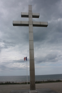 The cross on Juno Beach at Courseulles-sur-Mer marking where Charles De Gaulle came ashore eight days after D-Day.