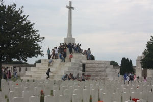 The Cross of Sacrifice is the centrepiece of Tyne Cot Cemetery, just outside the village of Passchedaele.