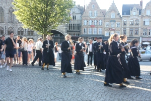 A visiting school band from England marches through Ypres to Menin gate to take part in the Last Post ceremony.