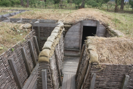 A recreation of trenches and dugout at the Memorial Museum Passchendaele 1917.