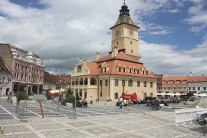 What appeared to be a central square. My guess is this is where the city market was held (and maybe still is held - I didn't look up Brasov in the guide book).
