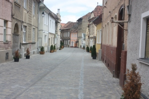 A typical cobblestoned street.