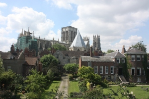 Yorkminster Cathedral as seen from the walls of York.