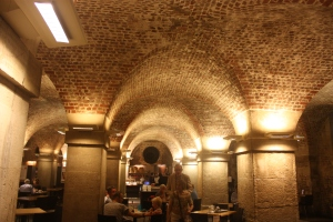 In the crypt, which now houses a cafe among other things,  St. Martin-in-the-Fields Church, London.
