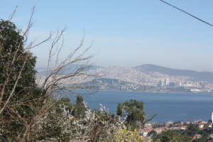 Looking back at the city of Istanbul from the island of Buyukada in the Sea of Marmara.