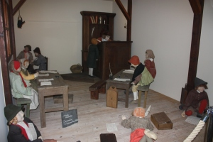 A re-creation of a typical Flanders school room from the 18th century.