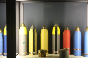 Century-old artillery shells on display at Memorial Museum Passchedaele 1917.