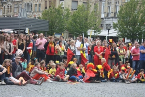 The crowd gathers in Ypres' market square to watch a World Cup match.