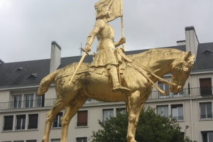 France's golden girl, Joan of Arc, we discovered as we were walking from the train station to Caen Castle.