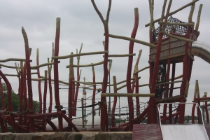 A very imaginative play structure in one of the pkaygrounds.