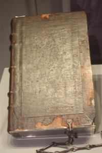 A King James Bible from 1611. The chain was to keep it attached to the lectern. In 1538 King Henry VIII ordered all English churches to have a Bible on display for members of the public to come in and read.
