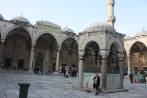 The courtyard of the Blue Mosque.