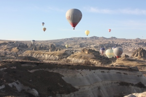 Traffic jam in the skies - there are balloons everywhere in the early morning.