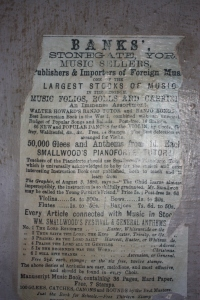 A 19th century flyer for Banks Music Store.