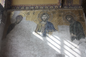 This thirteenth century mosaic panel features John the Baptist on the right, the Virgin Mary on the left and Christ in the middle.