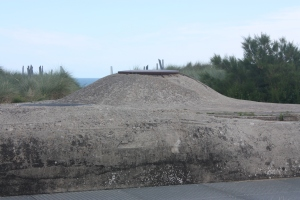 "The top of a German ""pillbox,"" part of the Atlantic Wall fortifications."
