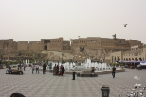 Erbil Citadel as seen from the market square.